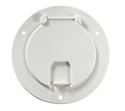 RV Designer Deluxe Cable Hatch Round Polar White   NT19-1499  - Power Cords - RV Part Shop USA