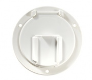 RV Designer Low Profile Hatch Round Polar White   NT19-1500  - Hardware - RV Part Shop USA