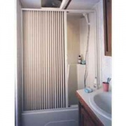Irvine Shade Pleated Shower Door- White   NT10-2071  - Tubs and Showers