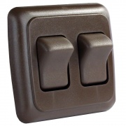 JR Products Double Rocker Switch Assembly - Brown   NT19-0150  - Switches and Receptacles - RV Part Shop USA