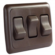 JR Products Triple Rocker Switch Assembly - Brown   NT19-0151  - Switches and Receptacles