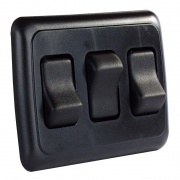 JR Products Triple Rocker Switch Assembly - Black   NT19-0160  - Switches and Receptacles - RV Part Shop USA