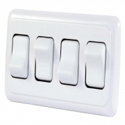 JR Products Quad Rocker Switch Assembly - White   NT19-0169  - Switches and Receptacles - RV Part Shop USA