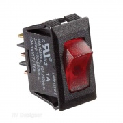 RV Designer 125 VAC Black w/Red Rocker Switch   NT19-2447  - Switches and Receptacles - RV Part Shop USA