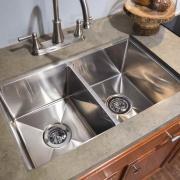 Lippert 27X16X7 Stainless Steel Double Bowl Level Break Square Sink (Under Mount)  NT10-1955  - Sinks