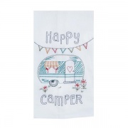 Kay Dee Design Happy Camper Embroidered Flour Sack Towel  NT68-5703  - Laundry and Bath - RV Part Shop USA