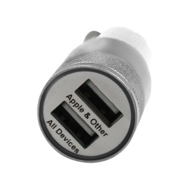 DUAL USB CAR CHARGER WHT