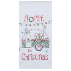 """Embroidered Christmas Camper Trailer Flour Sack Dish Towel - 18"""" x 28"""""""