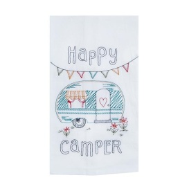 Happy Camper Embroidered Flour Sack Towel