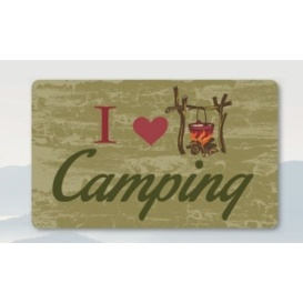 """Recycled Rubber Door Mat 18"""" x 30"""", I Love Camping"""
