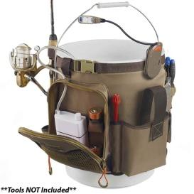 RIGGER 5 Gallon Bucket Organizer w/Light, Plier Holder & Retractable Lanyard