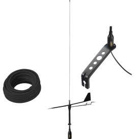 Black Swan VHF Antenna w/Wind Indicator  &  66' Coax Cable