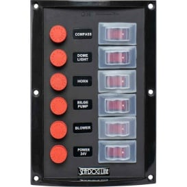 Splash Guard Switch Panel Vertical - 6 Switch