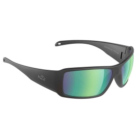 Stream Sunglasses Matt Black, Brown Green Flash Mirror Lens Cat.3 - AntiSalt Coating w/Floatable Cord