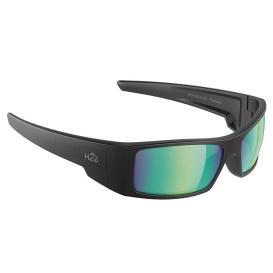 Waders Sunglasses Matt Black, Brown Green Flash Mirror Lens Cat.3 - AntiSalt Coating w/Floatable Cord