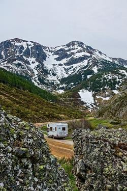 Camper in Mountains